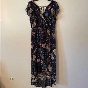 Maurices Wrap Navy and Floral Polyester Dress Sz L